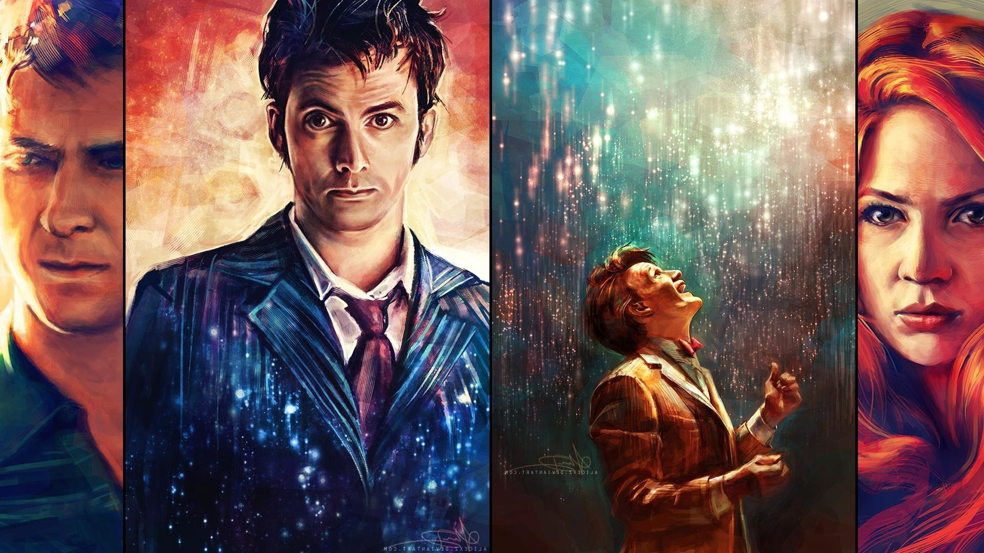 Doctor Who, The Doctor, Artwork, Painting, David Tennant, Matt Smith, Karen  Gillan, Amy Pond, Rory Williams, Arthur Darvill, Alicexz, Tenth Doctor, …