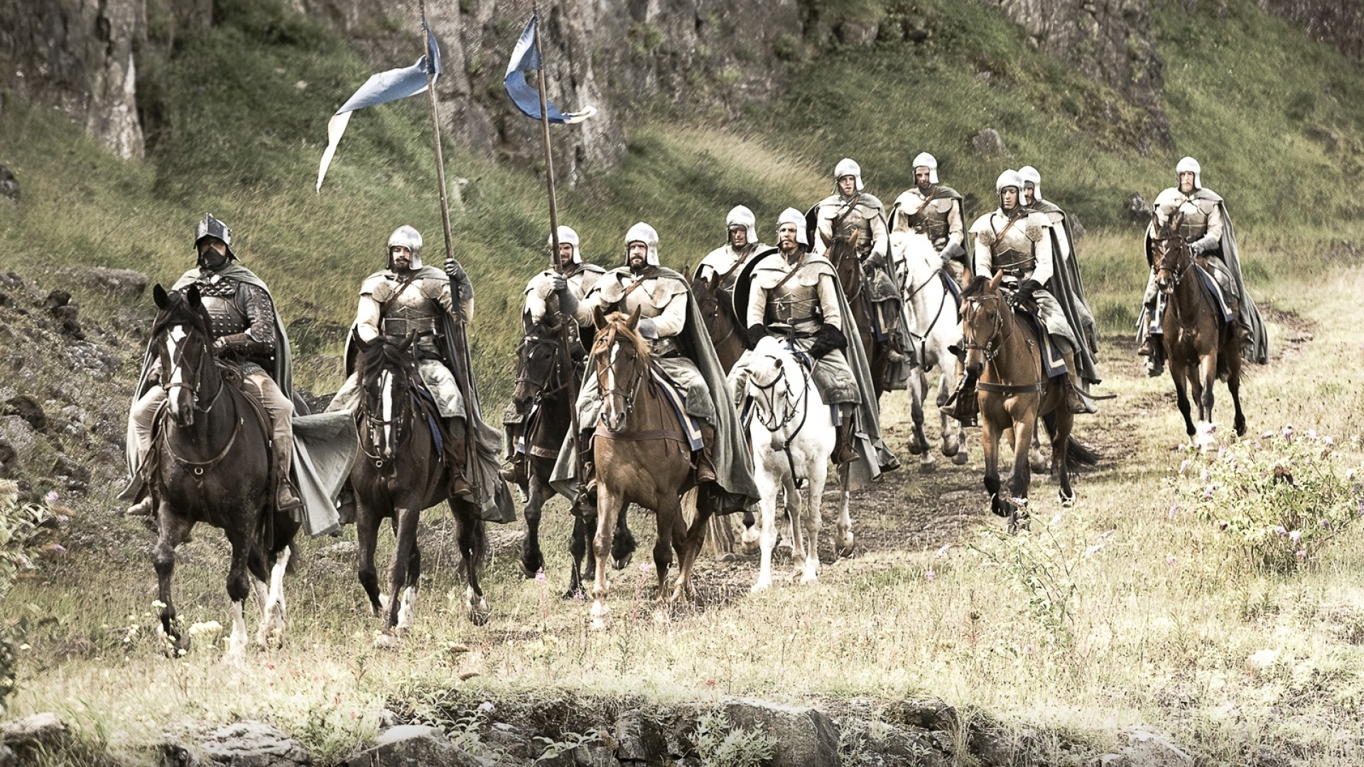 Preview wallpaper game of thrones, warriors, squad, horses, knights  1920×1080