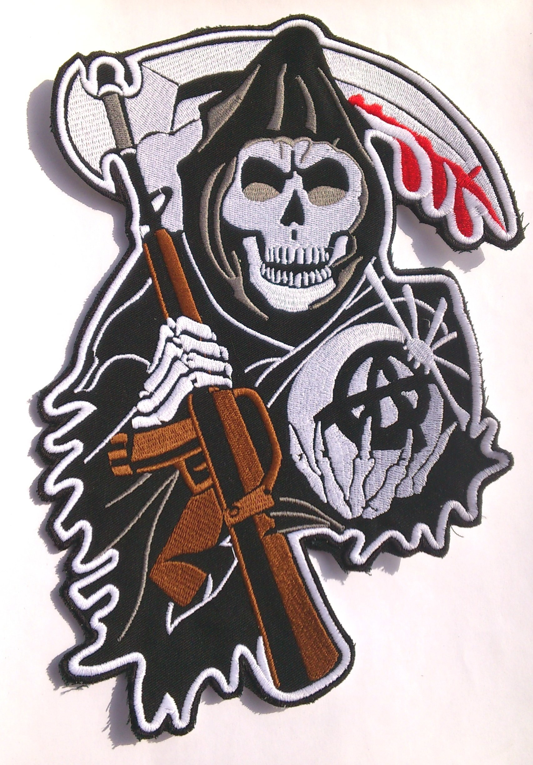 sons of anarchy patches   Sons of Anarchy Skull CENTER Backpatch SAMCRO  redwood original .