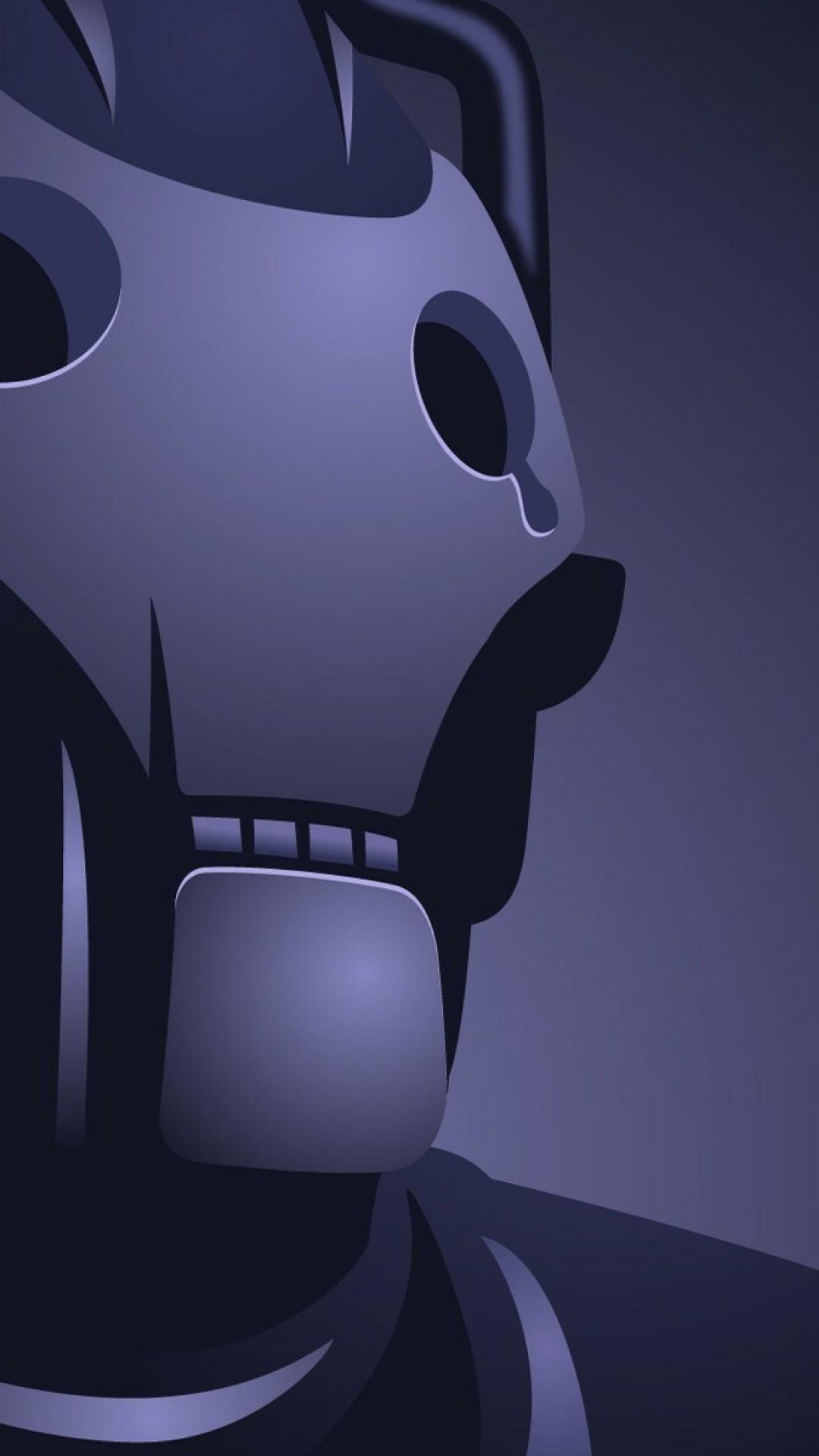 Wallpaper robot, blue, black, eyes