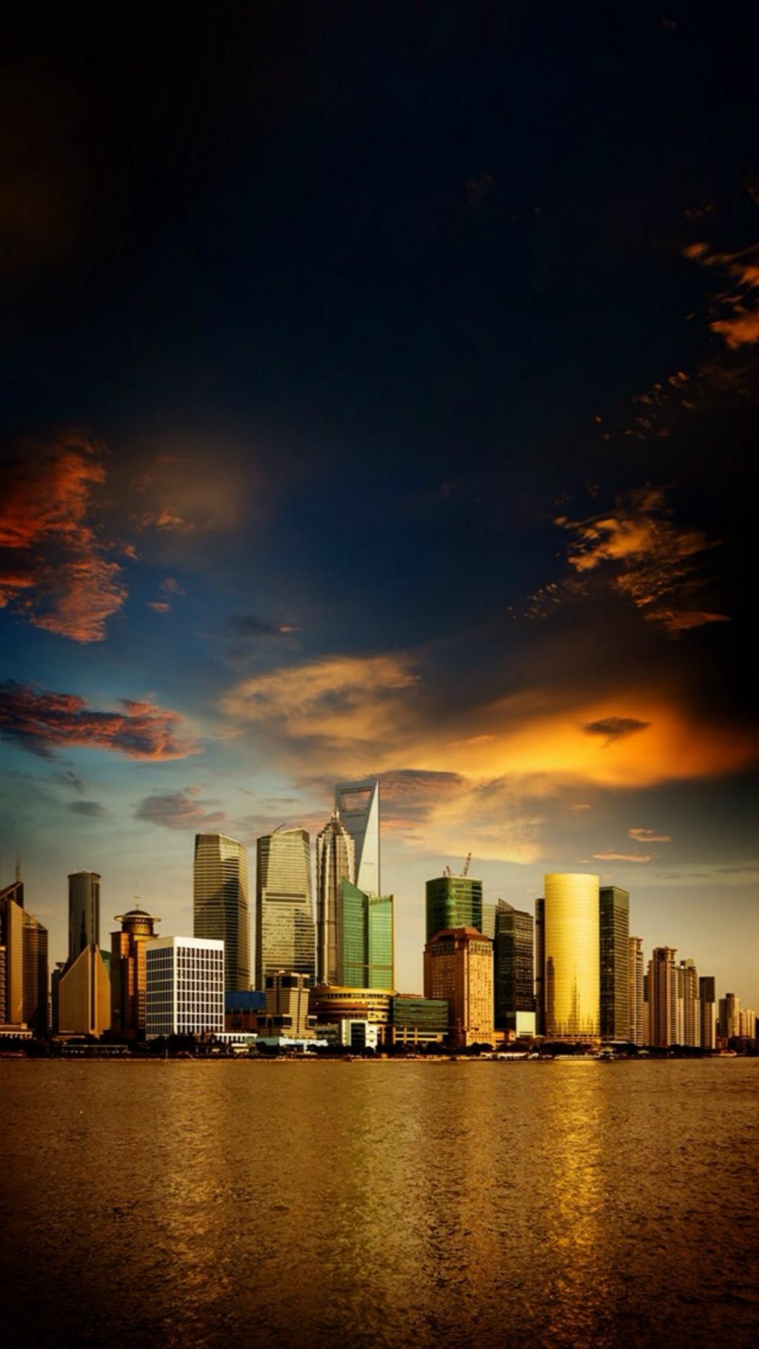 Modern High Skyscraper Riverbank Cityscape Skyview #iPhone #6 #wallpaper