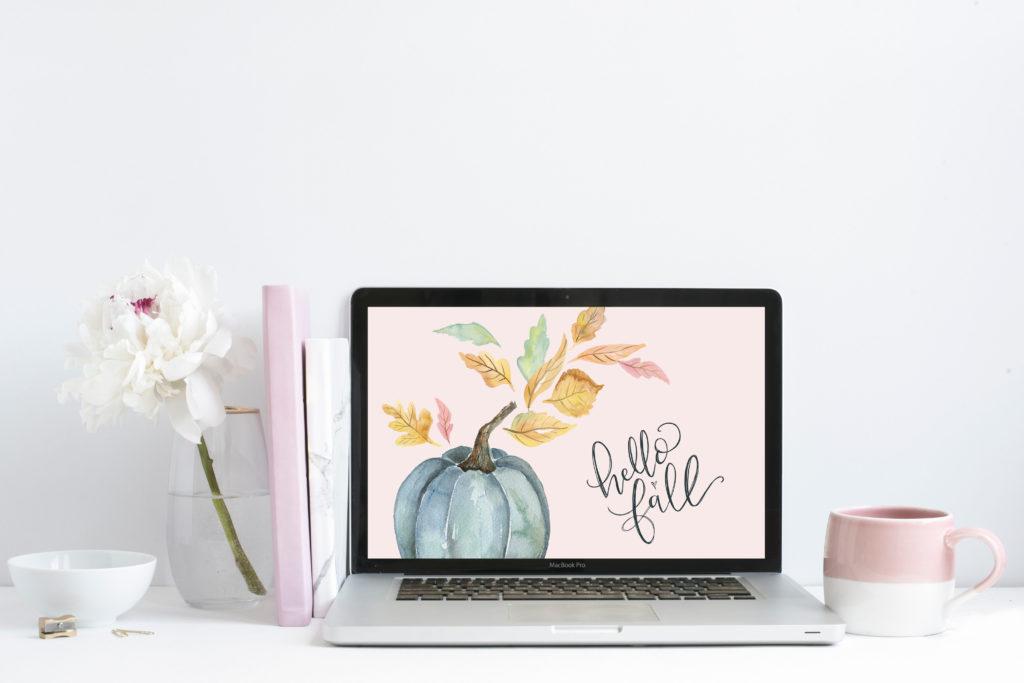 """September's """"Hello Fall"""" Free Desktop Wallpaper Download – hand-drawn Blue  pumpkin fall"""