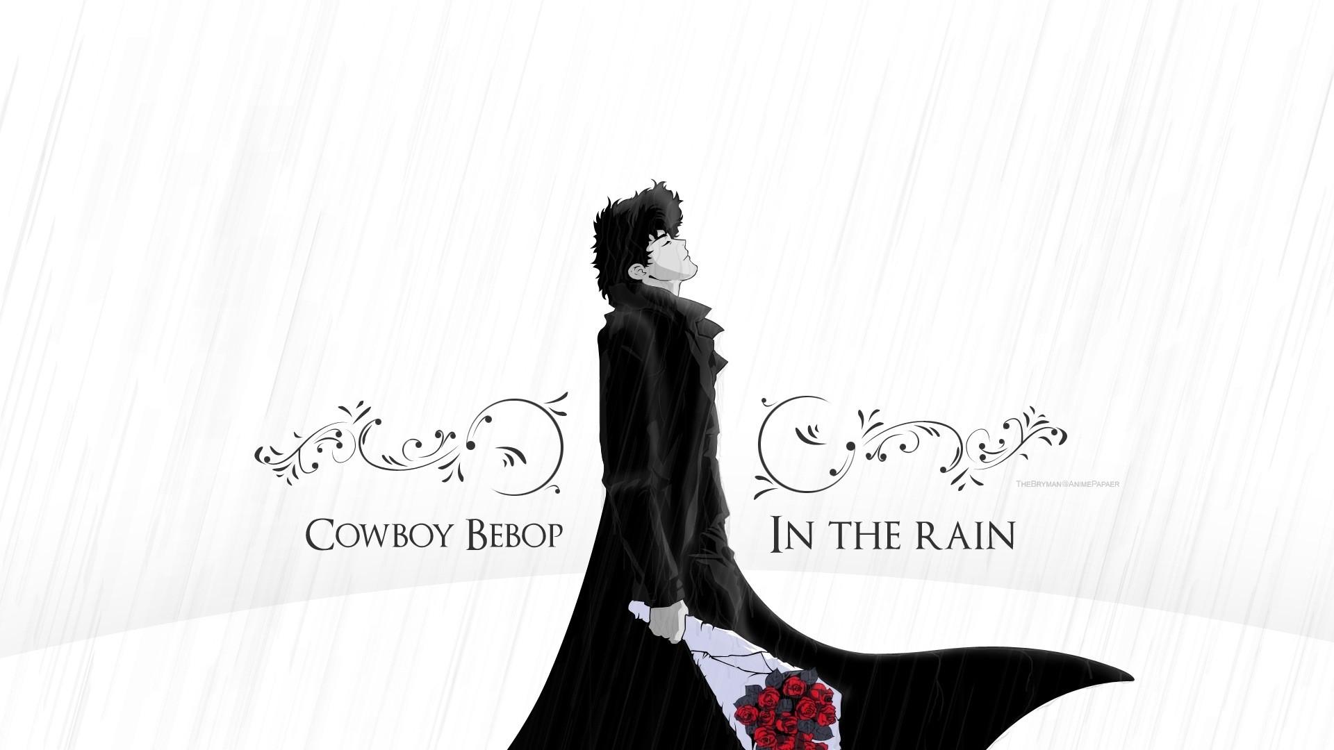 Preview wallpaper cowboy bebop, spike spiegel, guy, brunette, rain, flower,