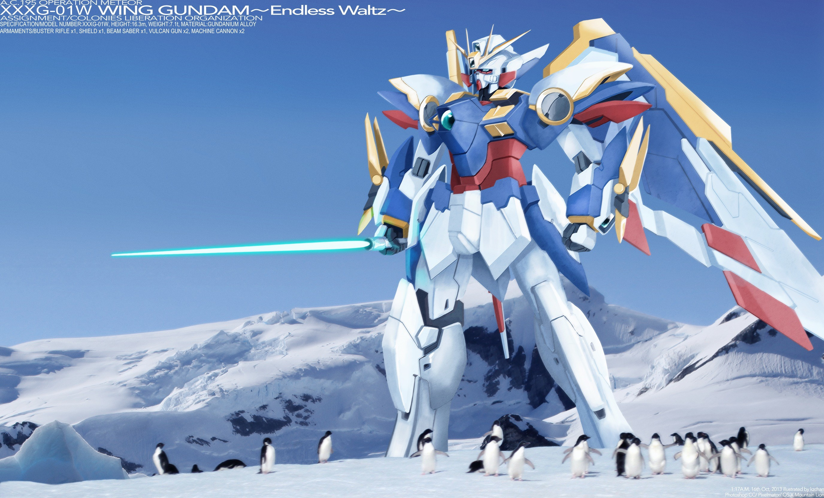 Wallpaper of Wing Gundam hanging out with some Penguins