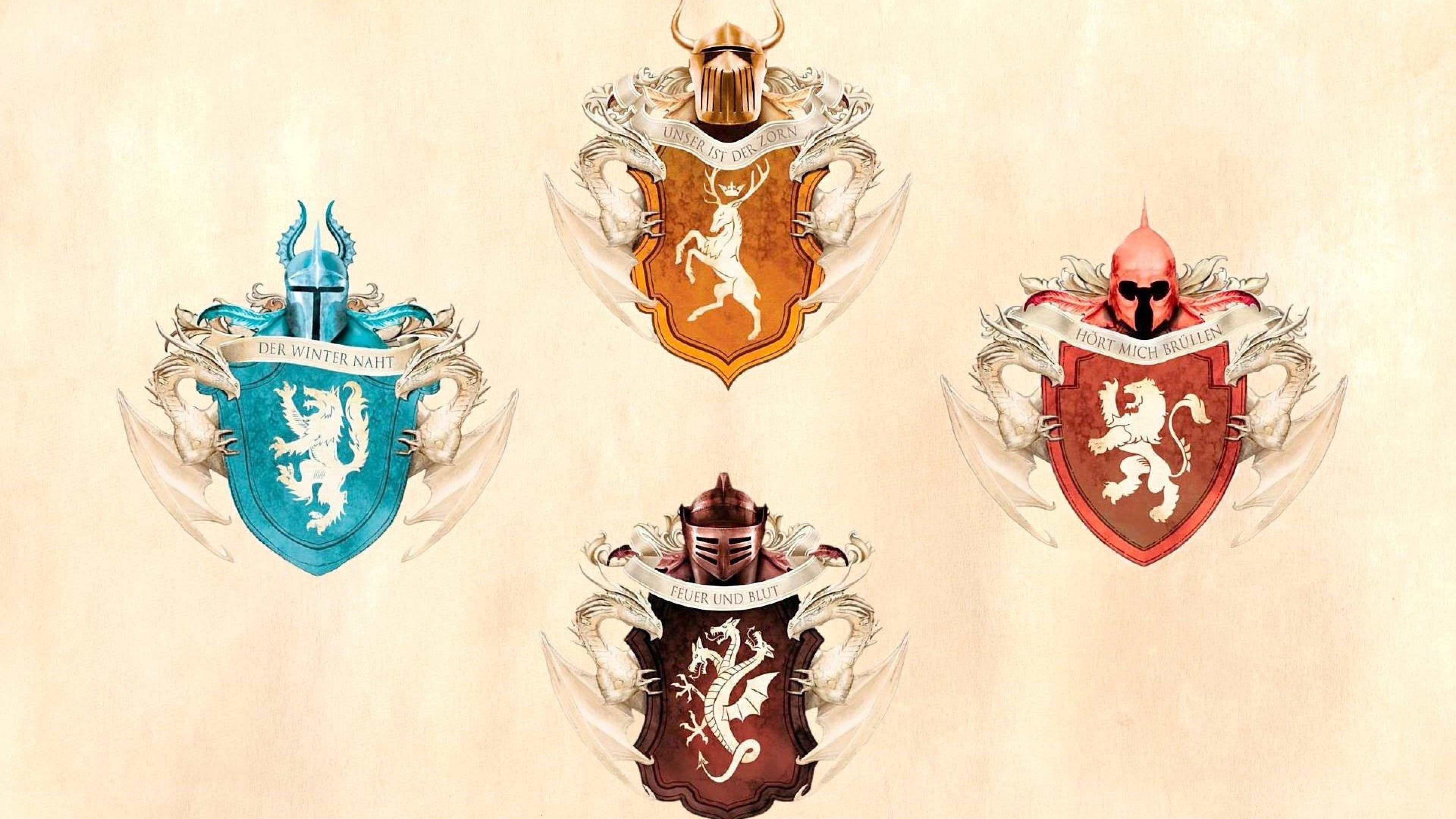 Wallpaper game of thrones, emblems, house stark, house targaryen,  house baratheon