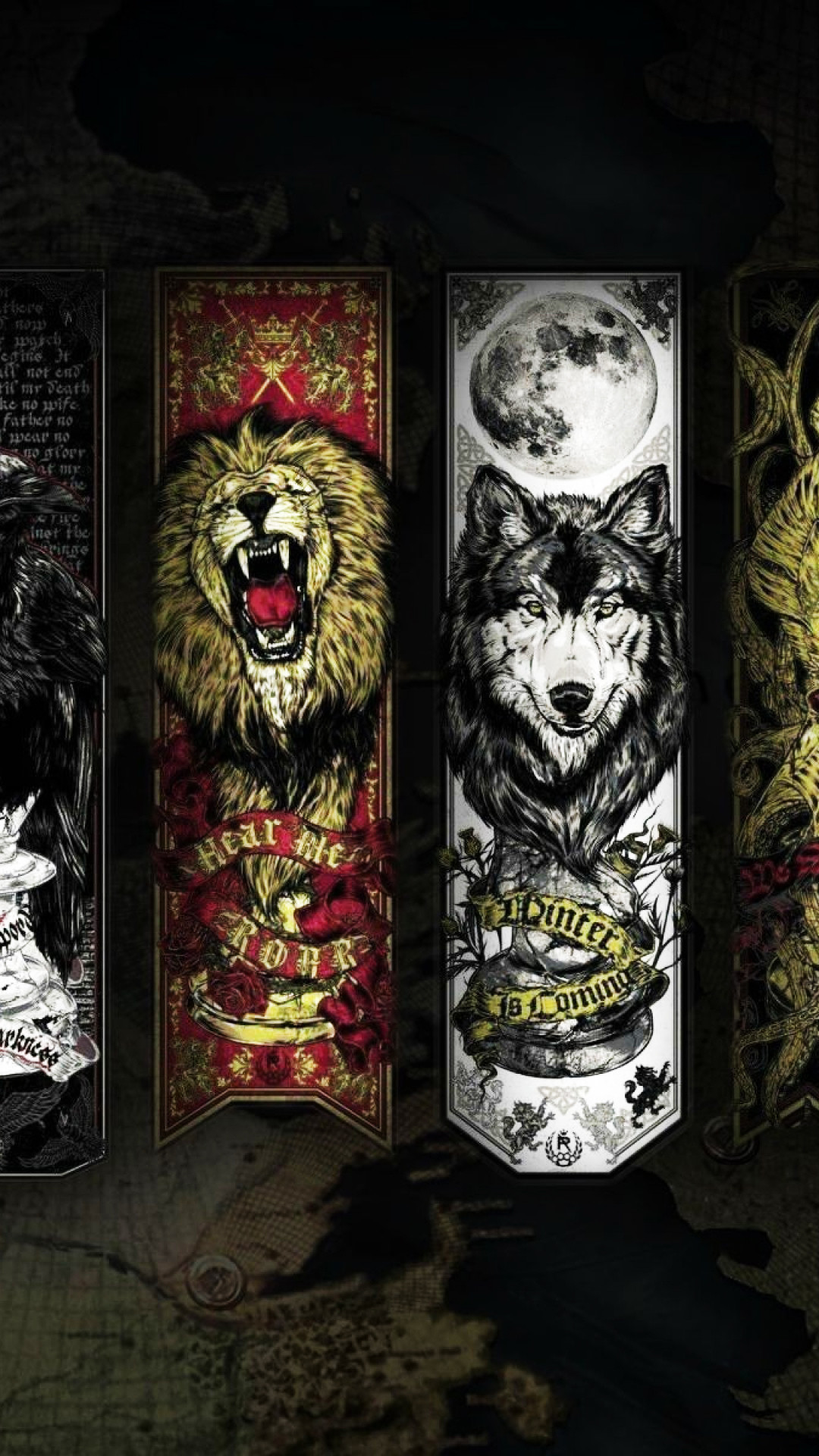Game Of Thrones Lannister Stark House Wolf Lion Android Wallpaper