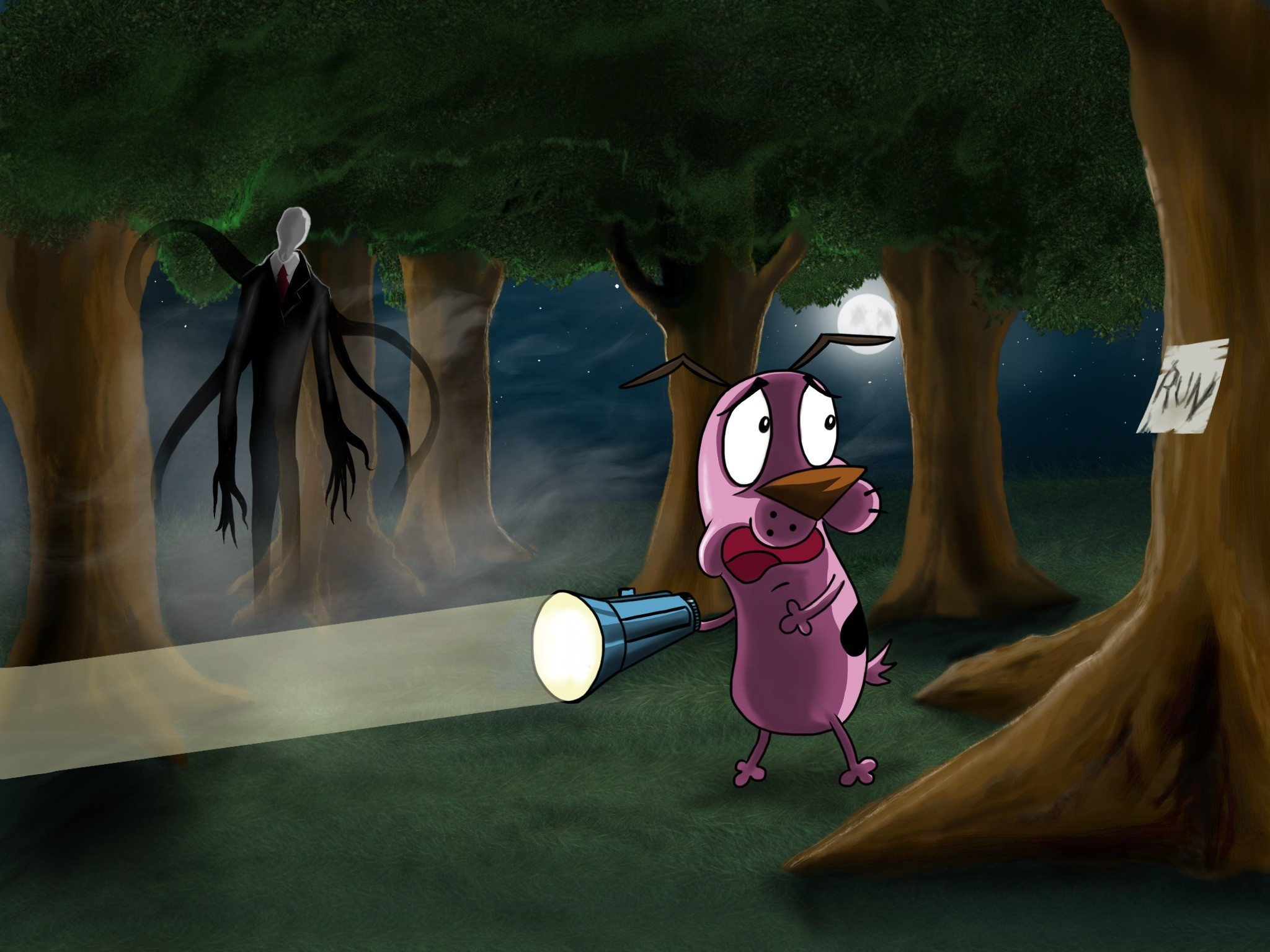 Can Courage outrun Slender Man by jose144 on DeviantArt