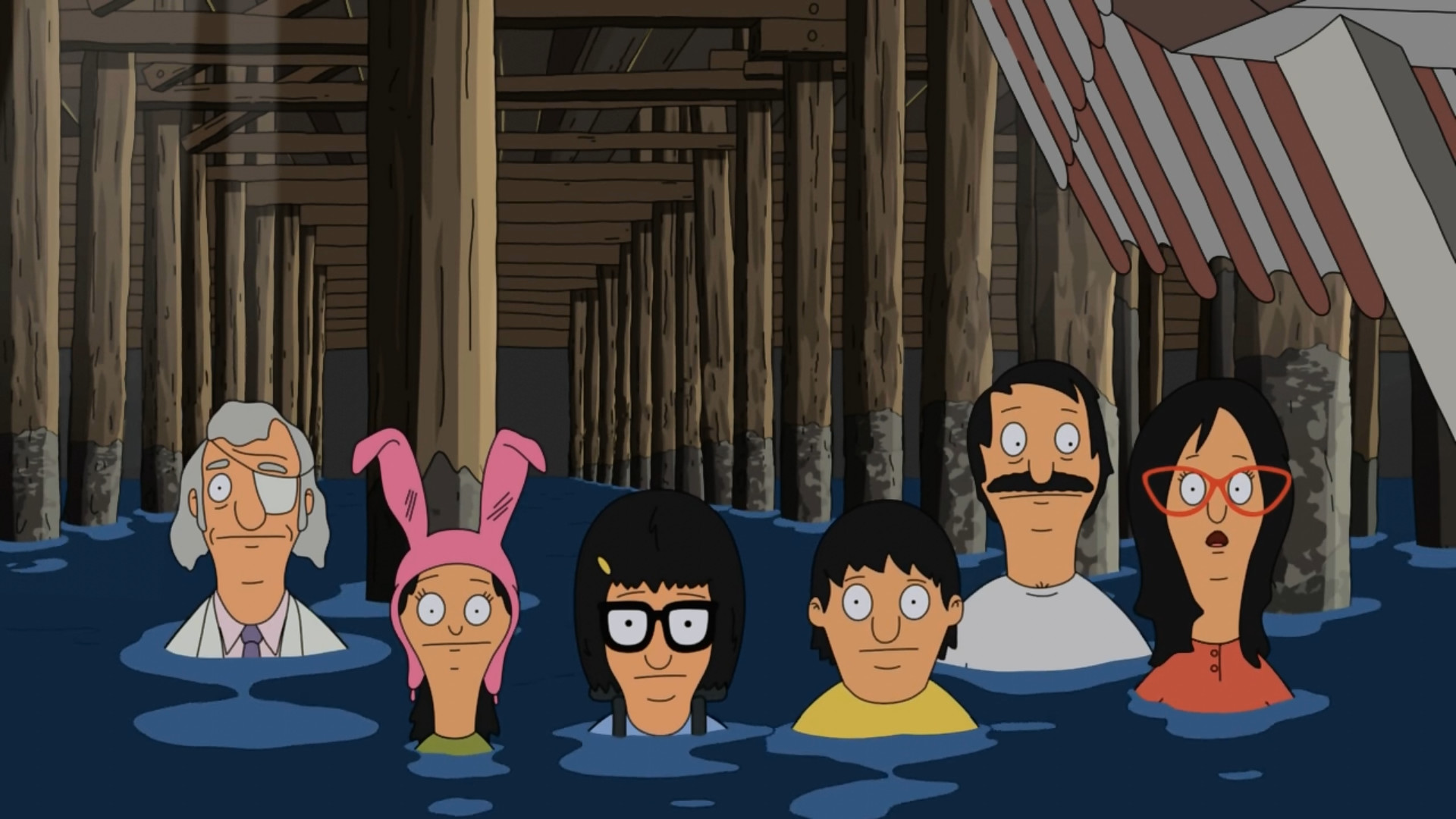 Feel asleep with Bob's Burgers on and my Girlfriend gets up and paused the  show on a perfect wallpaper.