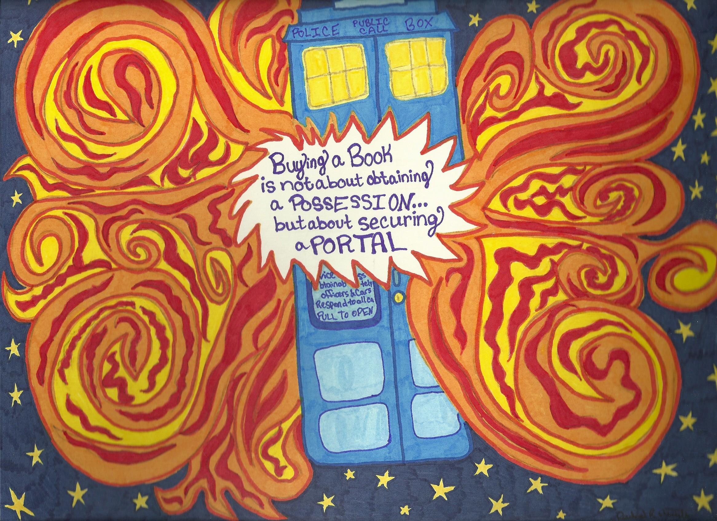 … extragoto10line Exploding TARDIS with Book Quote (1 of 2) by  extragoto10line