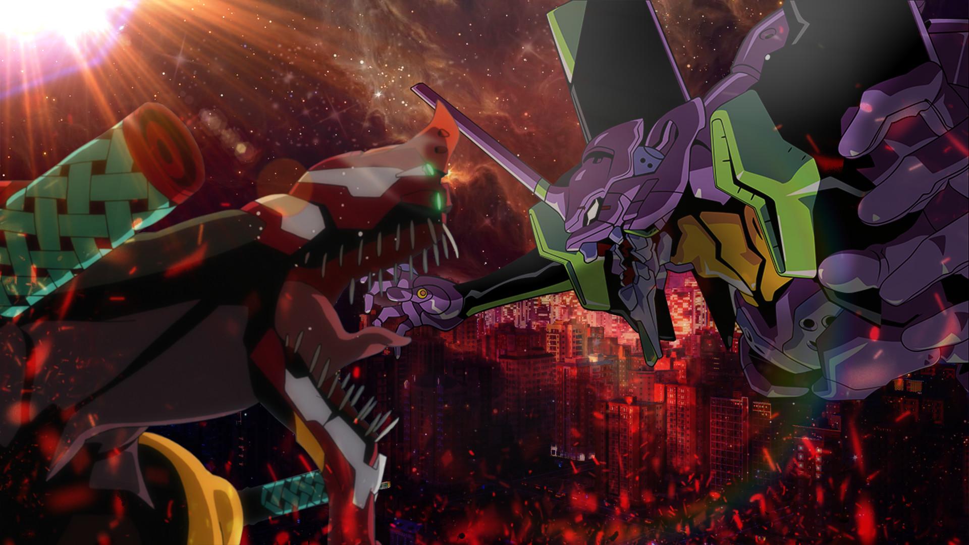 … Neon Genesis Evangelion Wallpaper Unit 1 vs Unit 2 by tarocl