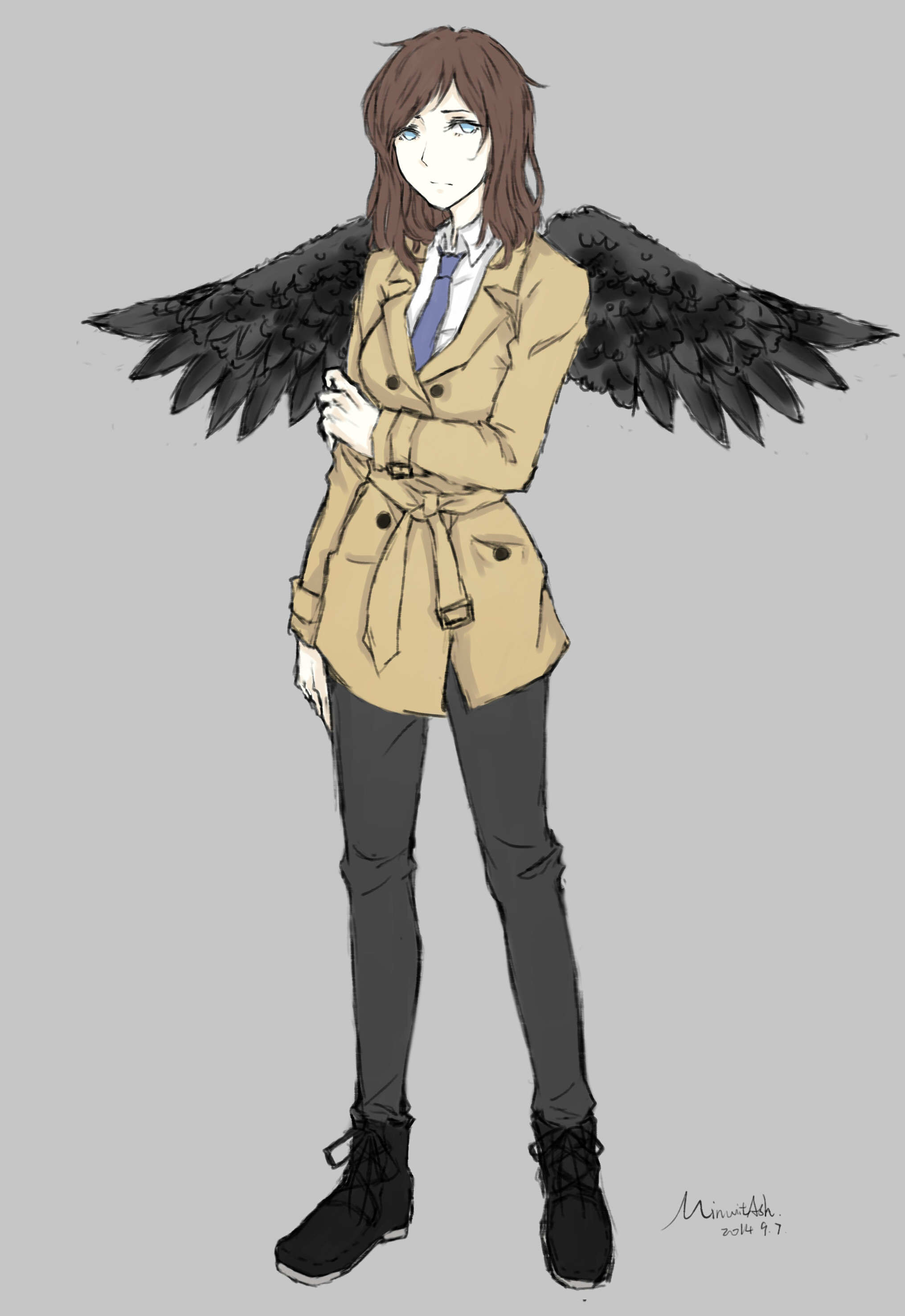 Tags: Anime, Pixiv Id 5210648, Supernatural, Castiel, Trench Coat, Pixiv