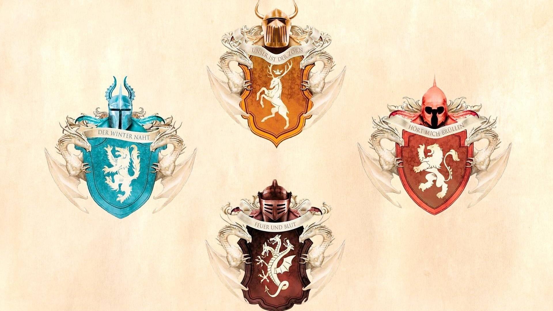 Preview wallpaper game of thrones, emblems, house stark, house targaryen,  house baratheon