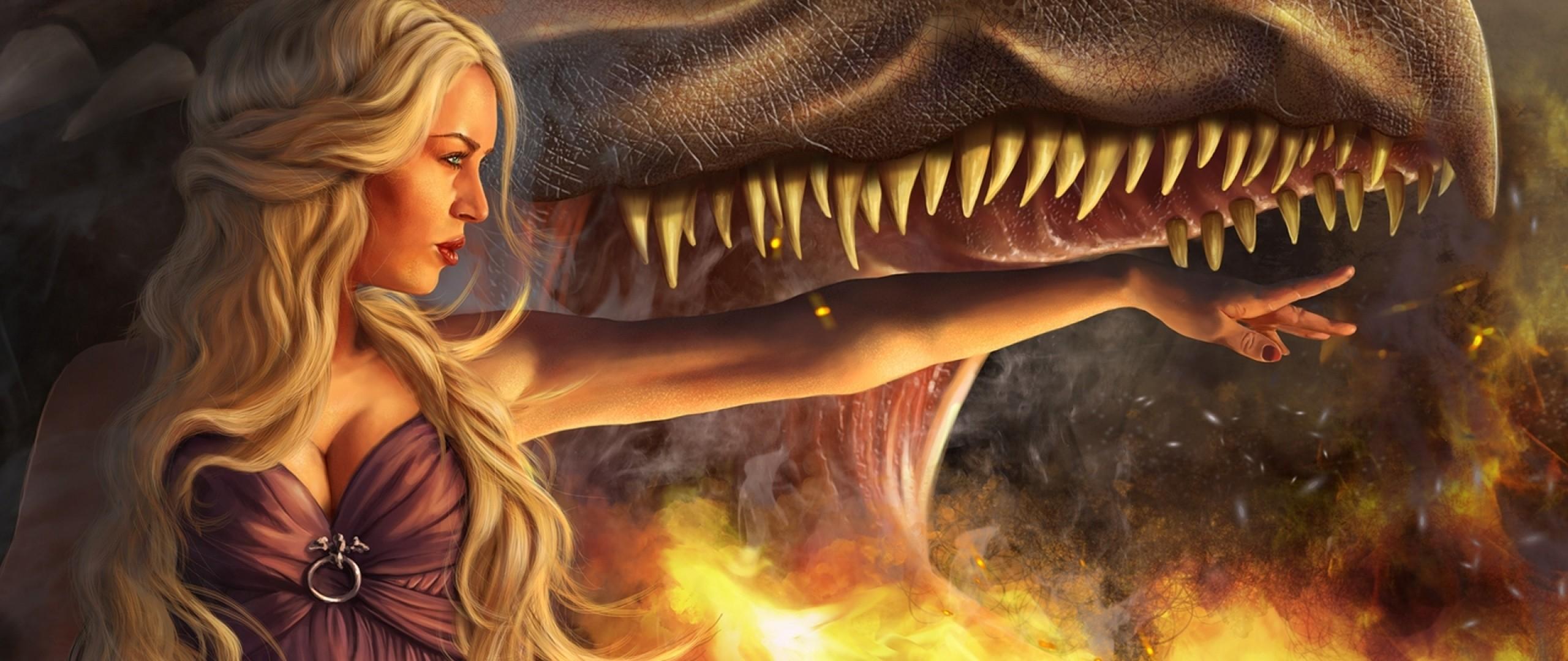 Preview wallpaper game of thrones, daenerys targaryen, girl, blonde,  dragon, jaws