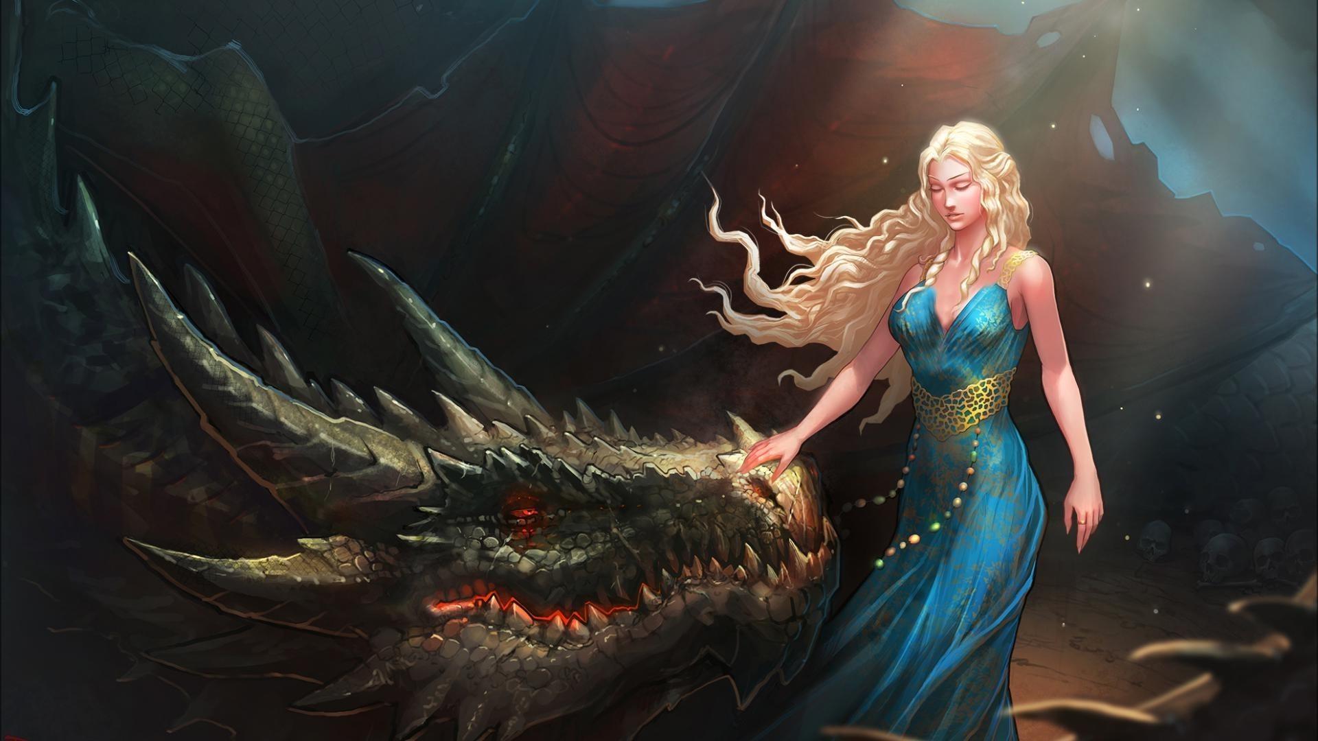 women, Blonde, Long Hair, Closed Eyes, Daenerys Targaryen, Digital Art,  Fantasy Art, Dragon, Nature, Blue Dress, Fan Art, Game Of Thrones Wallpaper  HD