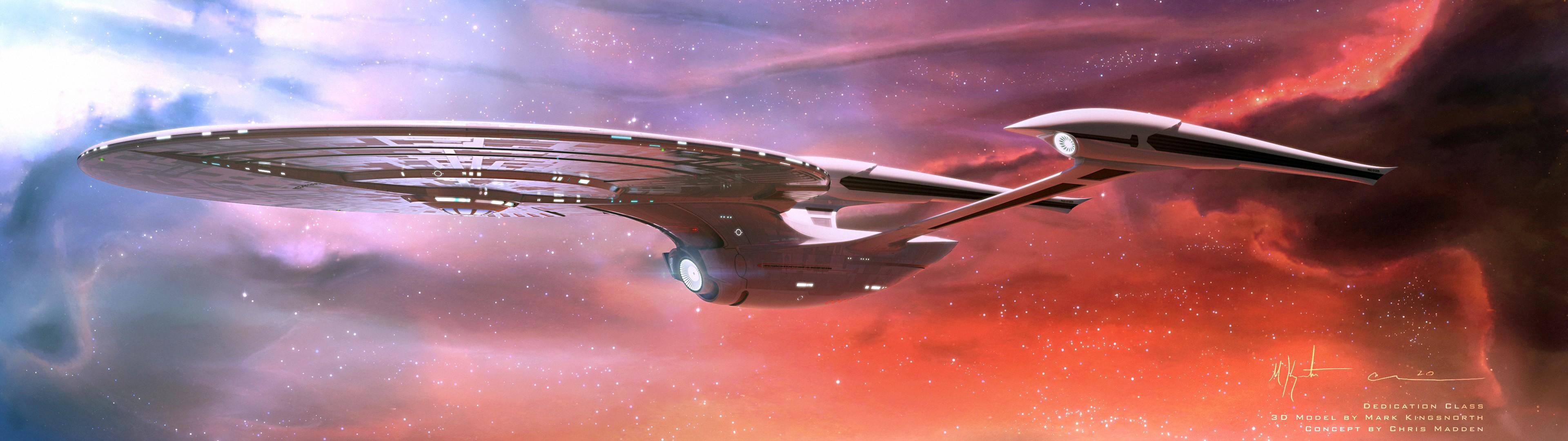General Star Trek USS Enterprise (spaceship) space nebula multiple  display dual monitors