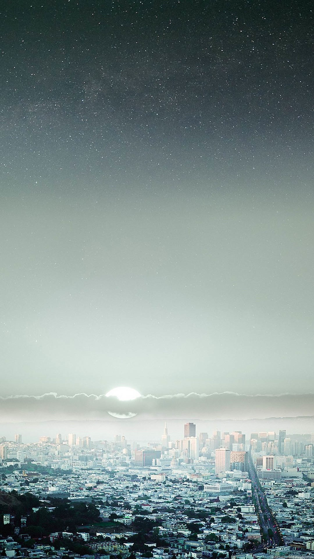 Starry Night Sky Big City iPhone 6 Plus HD Wallpaper / iPod Wallpaper .