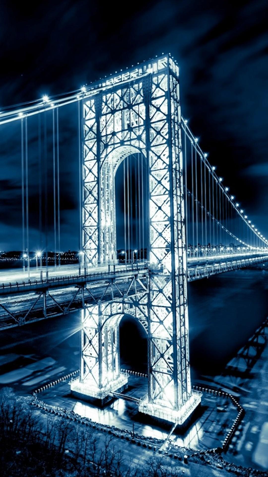 Night Shiny Long Bridge Nature Landscape iPhone 6 wallpaper
