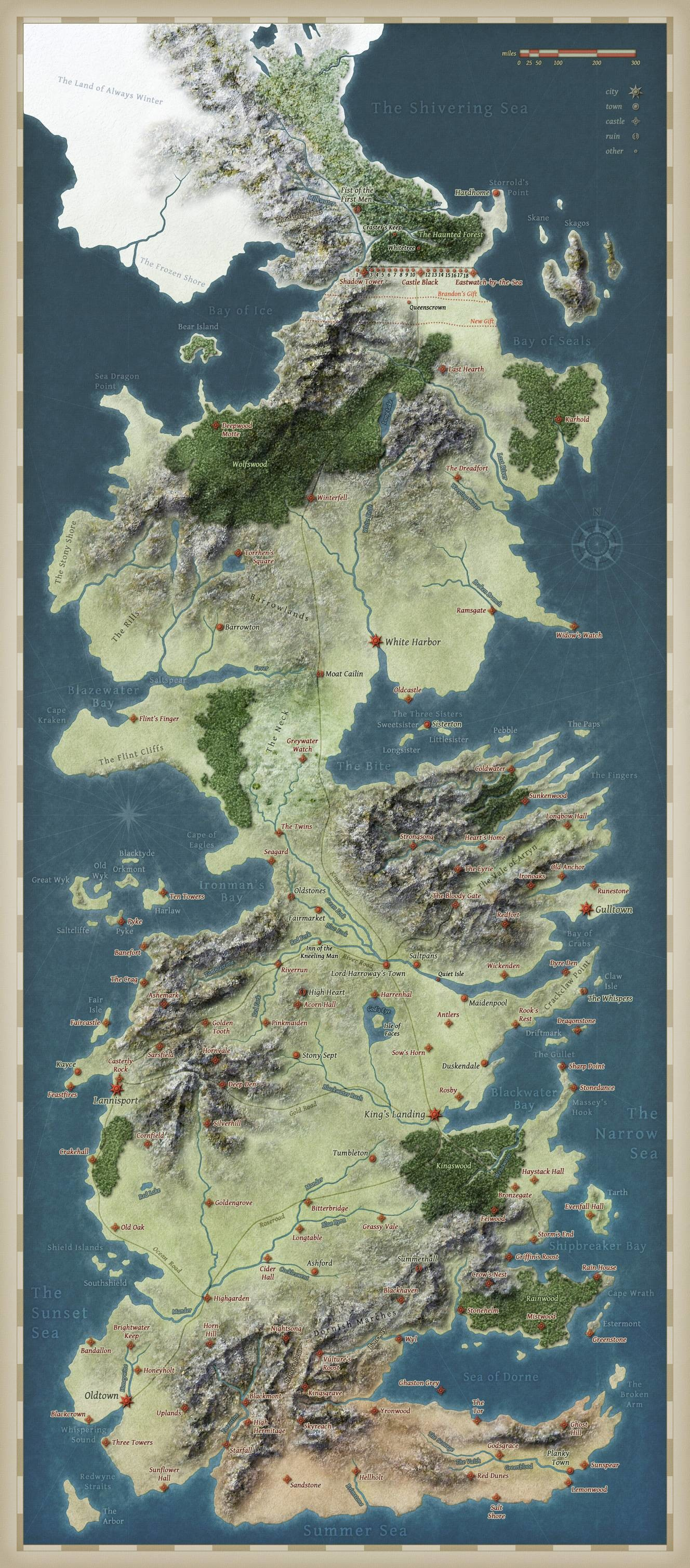 Map of Westeros, from George R. Martin's epic fantasy series 'A Song of Ice  and Fire' (and the HBO-show 'Game of Thrones').