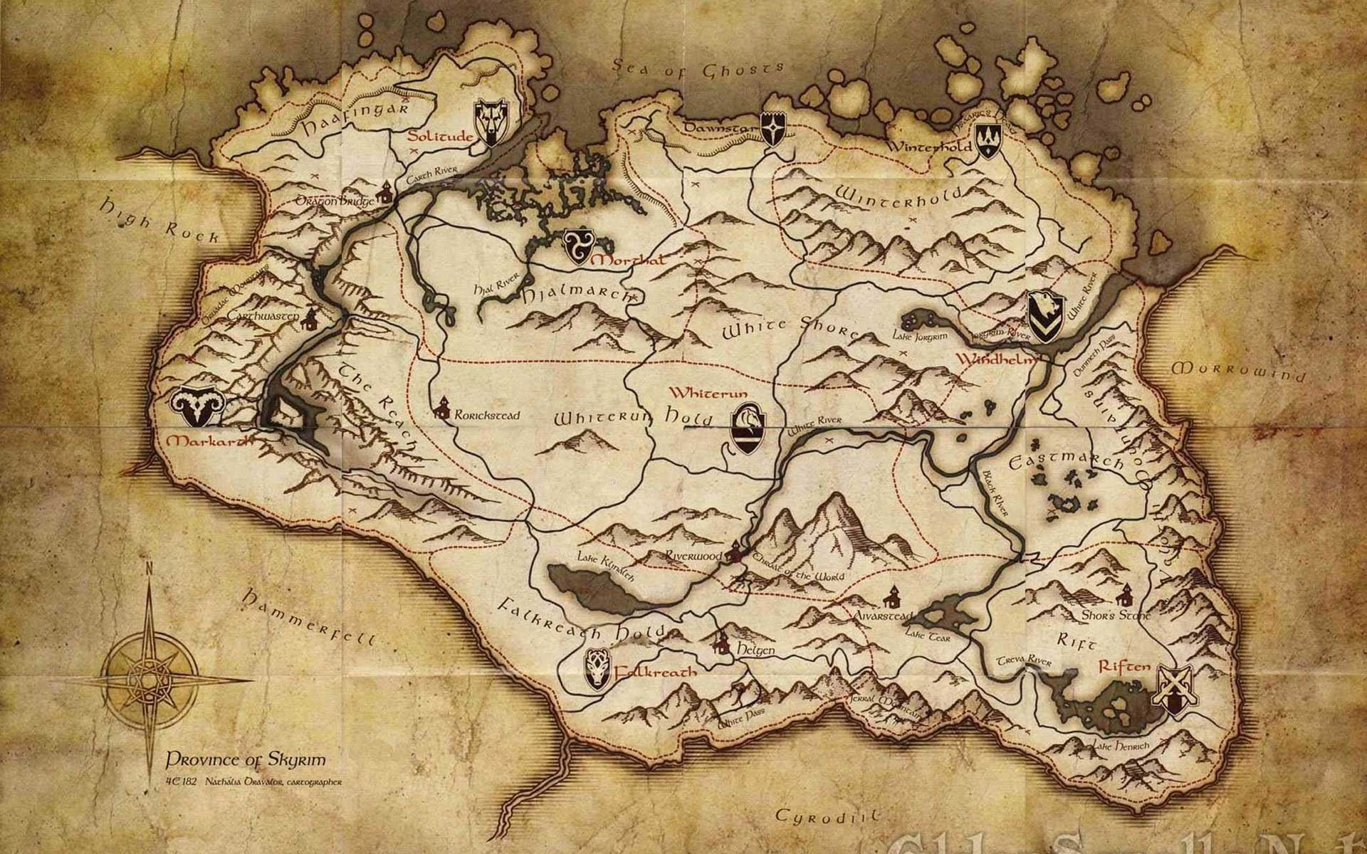 Wallpapers For > Skyrim Map Wallpaper 1920×1080