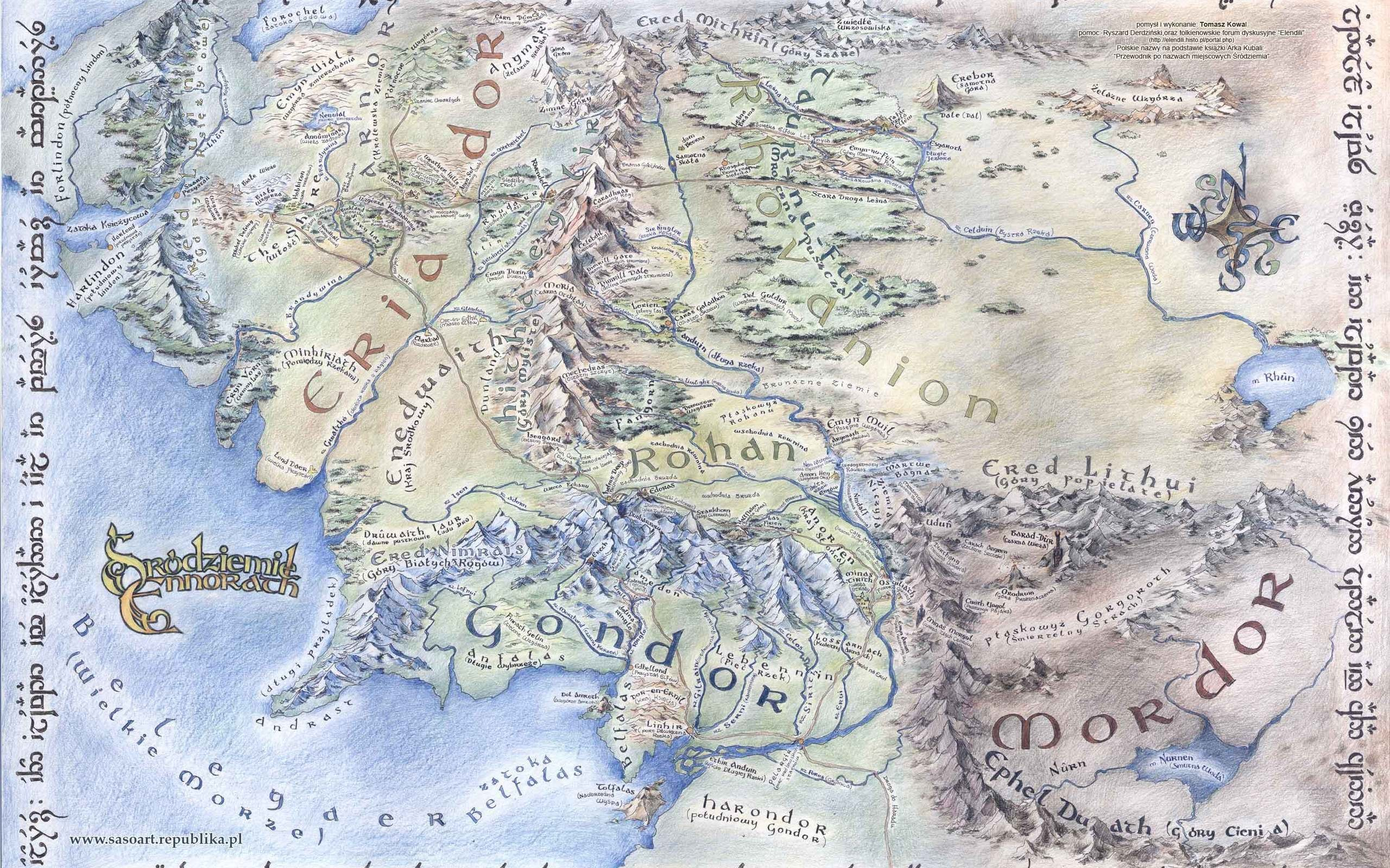 Large detailed map of Middle-earth Desktop wallpapers 1920×1080