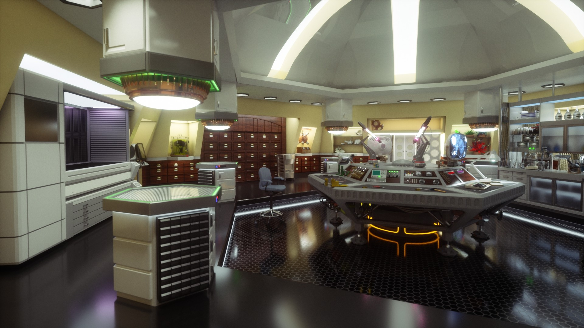 in 2002 I designed my own custom TARDIS interior concept. After 13 years I  have updated it.
