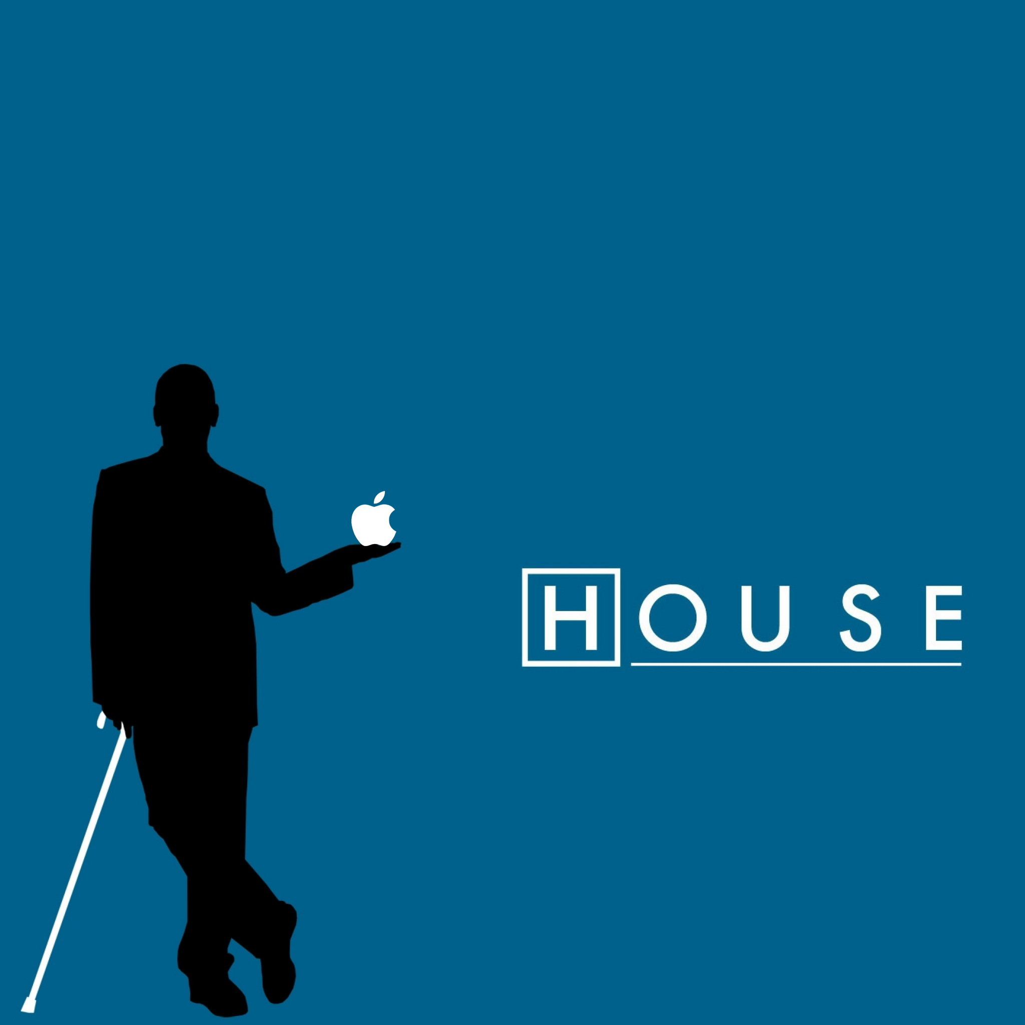 House MD Holding Apple Logo iPad Wallpaper HD